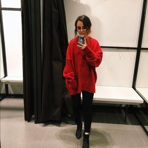 Oversized Red Zara Sweater
